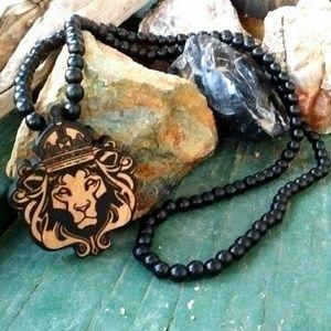 Other - Black sandalwood beaded & engraved Lion necklace